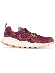 Flower Mountain Yamano Sneakers Men Leather Suede Neoprene Rubber 44 Red