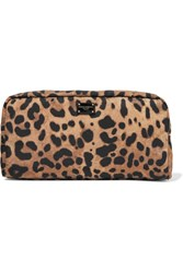 Dolce And Gabbana Necessaire Leopard Print Nylon Cosmetics Case Brown