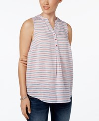 G.H. Bass And Co. Striped Button Neck Top Tomato Combo