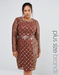 Lovedrobe Luxe Long Sleeve Stud Embellished Shift Dress Chocolate Brown