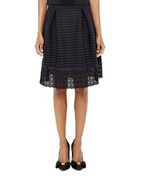 Ted Baker Lotee Mesh Stripe Skirt Navy