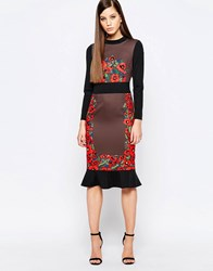 Comino Couture Midi Dress With Frill Hem And Engineered Print Multi Mink