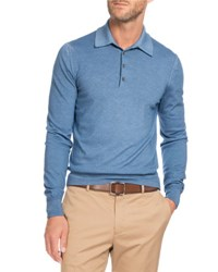 Berluti Long Sleeve Wool Polo Sweater Blue