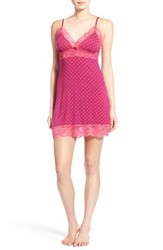 Women's Pj Salvage Lace Trim Polka Dot Print Chemise Wine