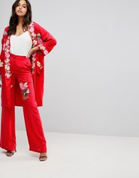 Millie Mackintosh Rose Embroidery Wide Leg Trousers Cherry Red