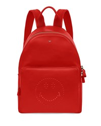 Smiley Leather Backpack Red Anya Hindmarch