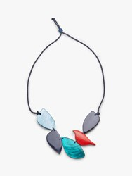 One Button Leaf Statement Cord Necklace Multi