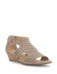 Me Too Sydnee Wedge Leather Sandals Beige