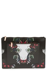 Ted Baker London 'Bejewelled Shadows Fawnn' Printed Leather Pouch