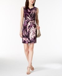 Connected Petite Printed Sheath Dress Black Purple
