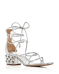 Michael Kors Collection Ayers Metallic Lace Up Studded Block Heel Sandals Silver