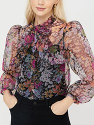 Monsoon Fiona Floral Tie Neck Sheer Blouse Black Multi
