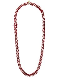 Forte Forte Frayed Beaded Necklace Red
