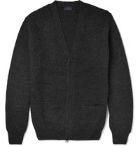 Lanvin Waffle Knit Wool Zip Up Cardigan Gray