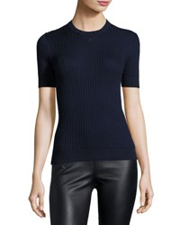 Courreges Short Sleeve Ribbed Knit Top Navy