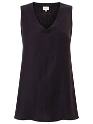 East V Neck Sleeveless Linen Jersey Top Ink