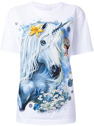 Wall Unicorn Print T Shirt White