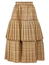 Gucci Tiered Checked Wool Blend Midi Skirt Brown Multi