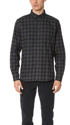 Brooklyn Tailors Structured Flannel Plaid Sport Shirt Navy Forest Green