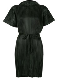 Issey Miyake Pleats Please By Pinstripe Belted Tunic Black