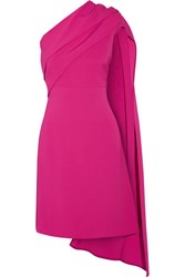 Narciso Rodriguez Draped One Shoulder Stretch Silk Crepe Dress Fuchsia