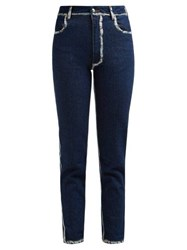 Eckhaus Latta Painted Seam Cropped Skinny Jeans Blue