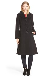 Petite Women's George Simonton Angle Seamed Wool Blend Reefer Coat Black
