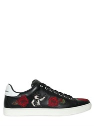 Dolce And Gabbana London Roses Cowboy Leather Sneakers