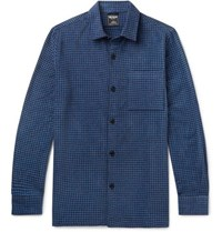 Todd Snyder Houndstooth Cotton Blend Chenille Overshirt Blue