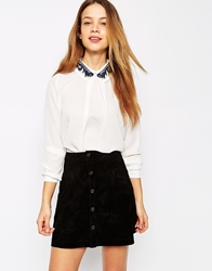 Max C London Max C Blouse With Crochet Collar White