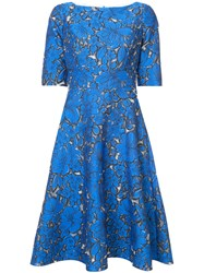Lela Rose Floral Jacquard Flared Dress Women Silk Polyester Polyimide 6 Blue