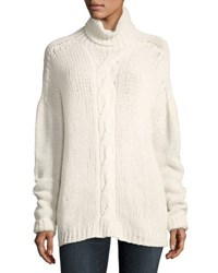 Majestic Cable Knit Turtleneck Sweater Beige