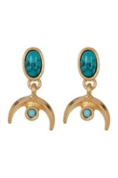 Melrose And Market Cabochon Stone Crescent Drop Earrings Metallic