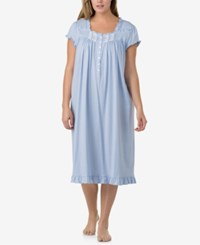 Eileen West Plus Size Ruffled Printed Cotton Waltz Length Nightgown Blue Dot