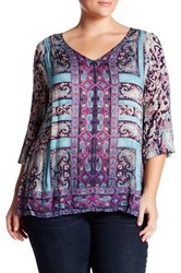 Lucky Brand Border Print Blouse Plus Size Blue