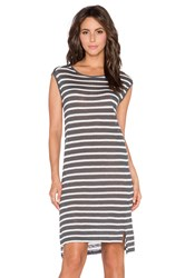 Velvet By Graham And Spencer Leila Linen Stripe Dress Gray