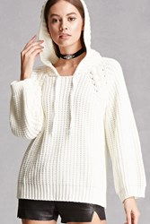 Forever 21 Purl Knit Hooded Sweater Ivory