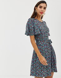 French Connection Belted Floral Playsuit Blue
