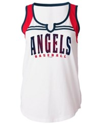 5Th And Ocean Women's Los Angeles Angels V Notch Tank White Red