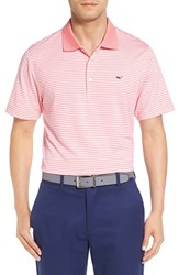 Vineyard Vines Men's 'Porter' Stripe Jersey Polo Hibiscus