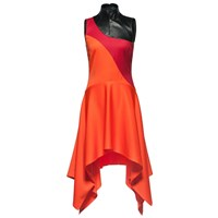 Leka Leather And Wool Asymmetric Dress Black Red Yellow