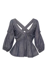 Piamita Rachel Cross Back Peplum Blouse Blue