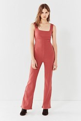 Urban Outfitters Uo Empire Waist Ribbed Knit Jumpsuit Rust