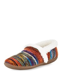 Toms Striped Faux Fur Slipper Orange Multi