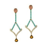 Madhuri Parson I Geo Turquoise Tourmaline And Citrine Drop Chandelier Earrings Pink