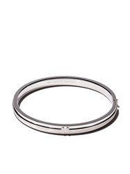 Tiffany And Co. Co 18Kt White Gold T Two Hinged Diamond Bangle Metallic