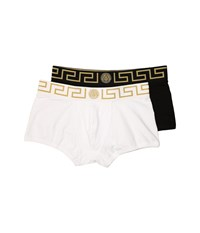 Versace Iconic Low Rise Trunks 2 Pack White Gold Black Gold Men's Underwear