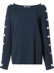 Carolina Herrera Flower Applique Boatneck Blouse Blue
