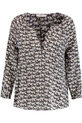 Joie Coralee Printed Washed Silk Blouse Black