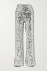 Norma Kamali Sequined Jersey Flared Pants Silver
